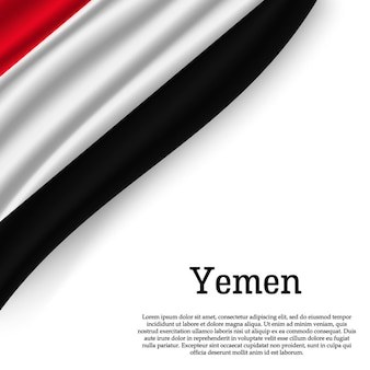 Waving flag of yemen on white