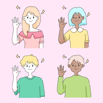 Waving hand greeting cute people illustration
