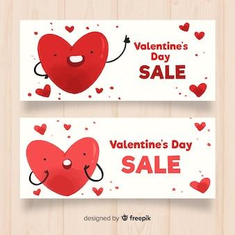 심장 발렌타인 판매 배너를 흔들며