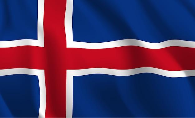 アイスランドの旗を振って抽象的なイラスト