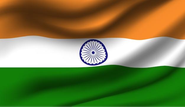 インドの旗を振って抽象的なイラスト