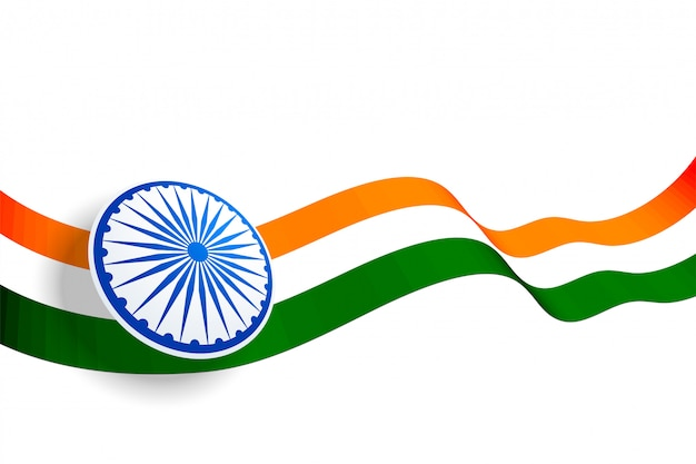 Waving indian flag design with blue chakra