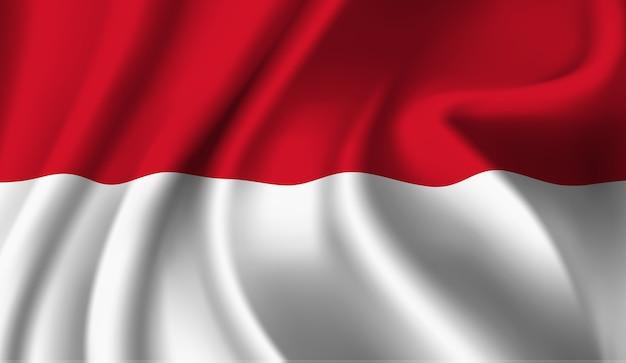 インドネシアの旗の抽象的なイラストを振ってください。