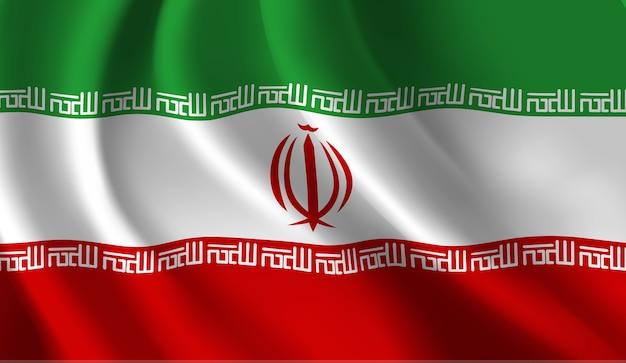 이란 깃발 추상 그림을 흔들며