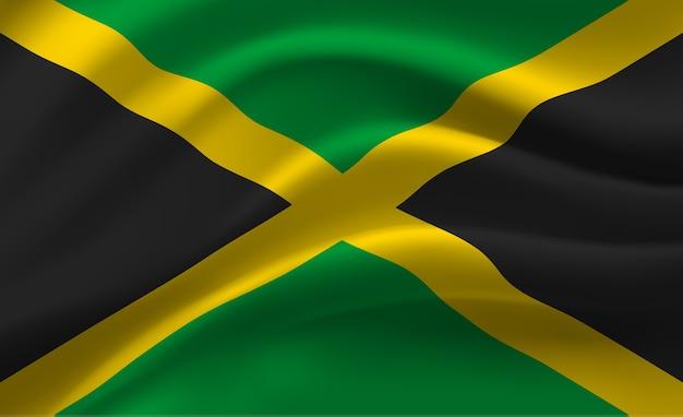 ジャマイカの旗の抽象的なイラストを振ってください。