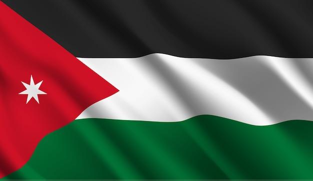 ヨルダンの旗を振って抽象的なイラスト