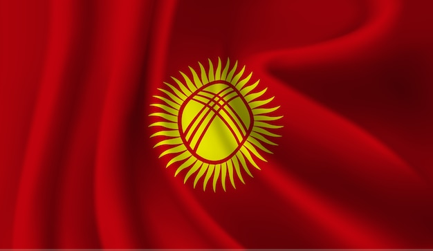キルギスタンの旗を振って抽象的なイラスト