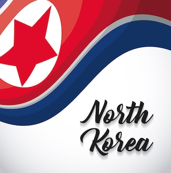 Waving north korea flag