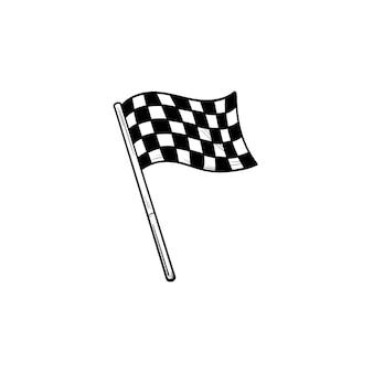 흔들며 경주 체크 무늬 깃발 손으로 그린 개요 낙서 아이콘. 레이싱 마무리, 경쟁 우승자, 승리 개념