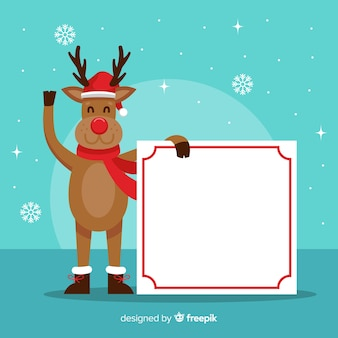 Waving reindeer holding blank sign