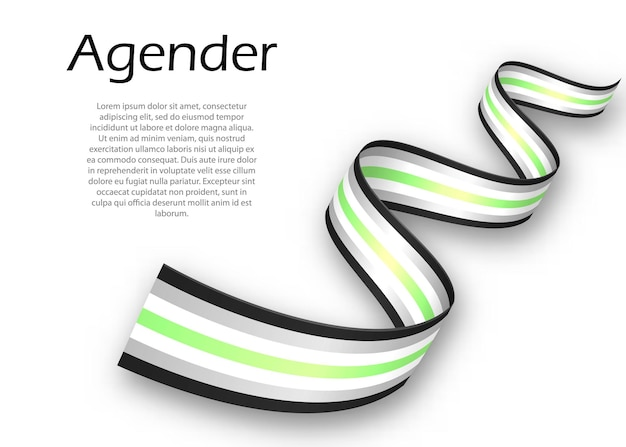 Waving ribbon or banner with agender pride flag, vector illustration