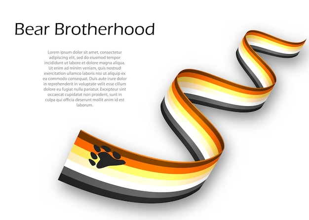 Waving ribbon or banner with bear brotherhood pride flag , vector illustration