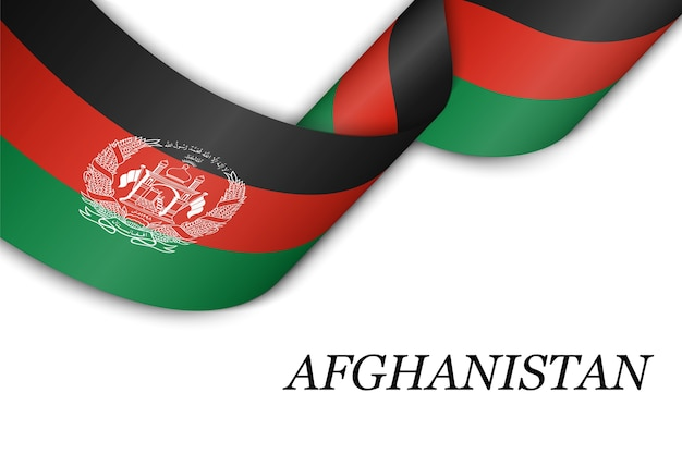 Waving ribbon or banner with flag of afghanistan.