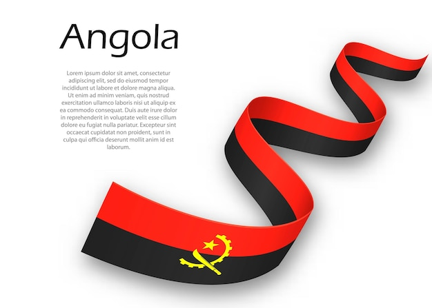 Waving ribbon or banner with flag of angola. template for independence day poster design