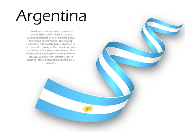 Waving ribbon or banner with flag of argentina. template for independence day poster design