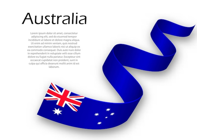 Waving ribbon or banner with flag of australia. template for independence day poster design