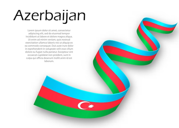 Waving ribbon or banner with flag of azerbaijan. template for independence day poster design