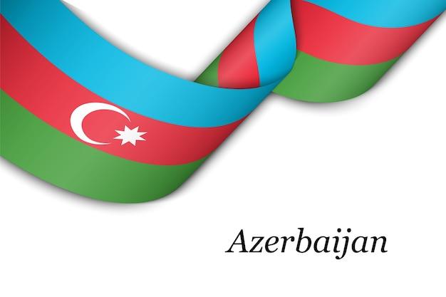 Waving ribbon or banner with flag of azerbaijan.
