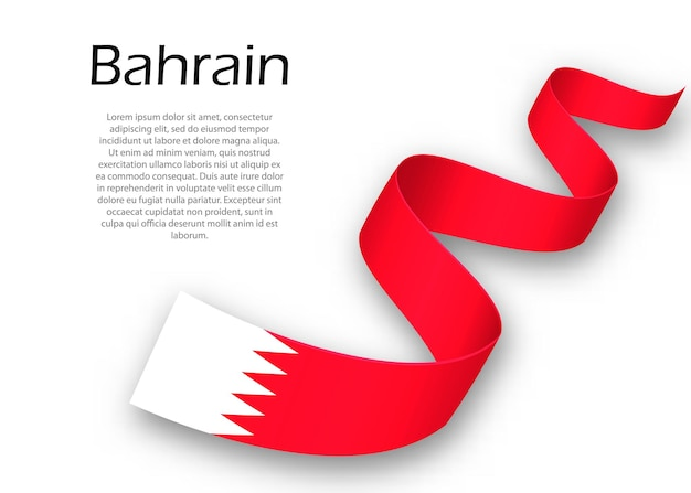 Waving ribbon or banner with flag of bahrain. template for independence day poster design