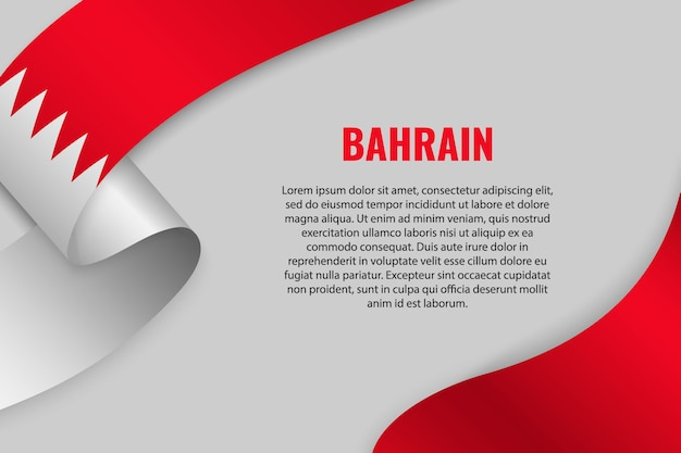 Waving ribbon or banner with flag of bahrain. template