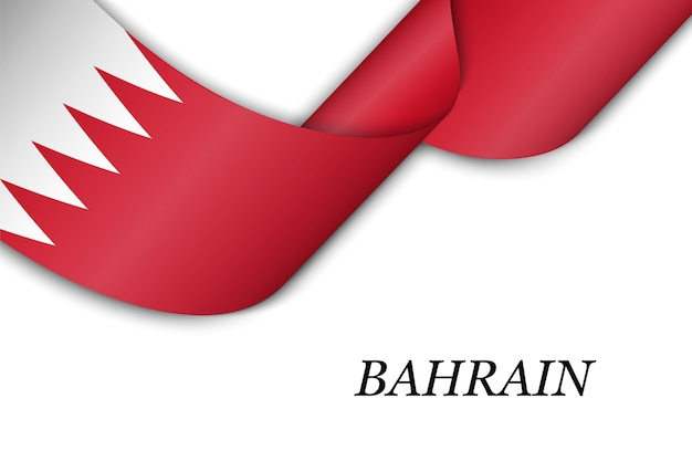 Waving ribbon or banner with flag of bahrain.