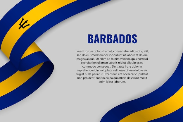 Waving ribbon or banner with flag of barbados. template