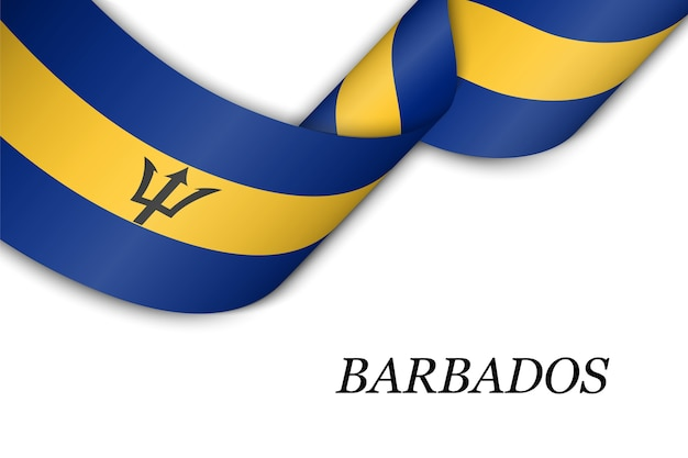 Waving ribbon or banner with flag of barbados. Premium Vector
