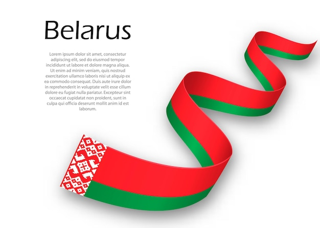 Waving ribbon or banner with flag of belarus. template for independence day poster design