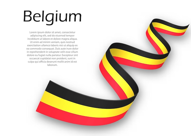 Waving ribbon or banner with flag of belgium. template for independence day poster design