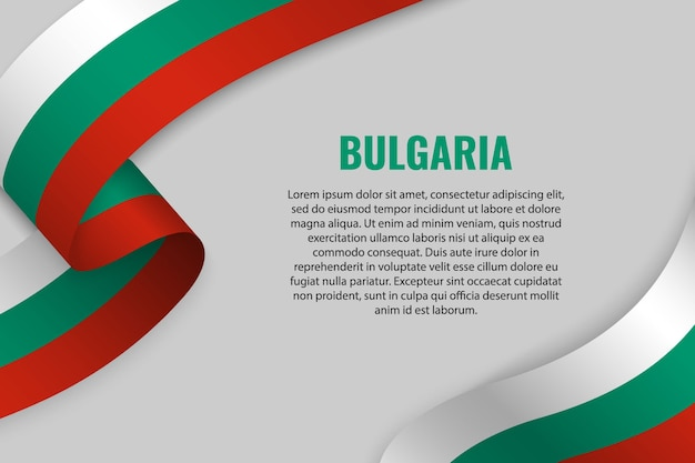 Waving ribbon or banner with flag of bulgaria. template