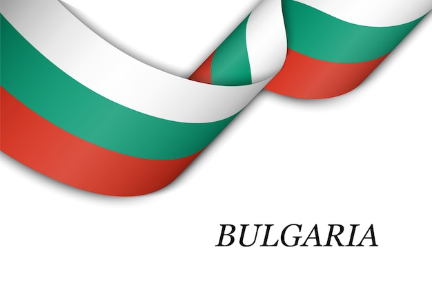 Waving ribbon or banner with flag of bulgaria.