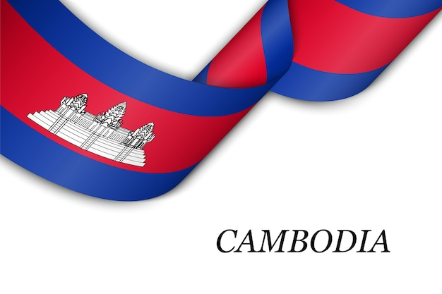 Waving ribbon or banner with flag of cambodia.