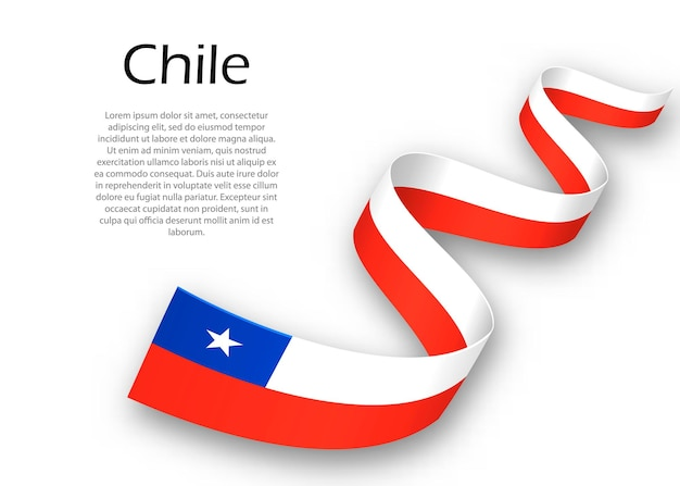 Waving ribbon or banner with flag of chile. template for independence day poster design