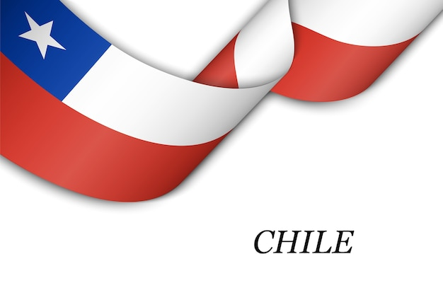 Waving ribbon or banner with flag of chile.