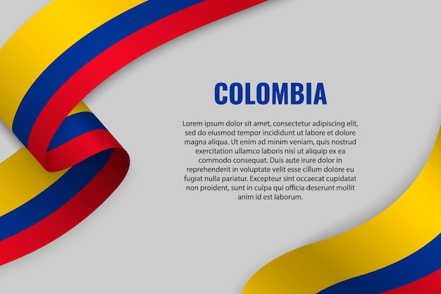 Waving ribbon or banner with flag of colombia. template