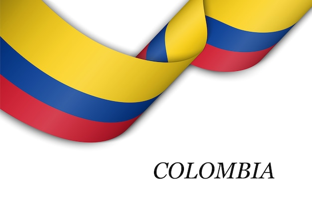 Waving ribbon or banner with flag of colombia.