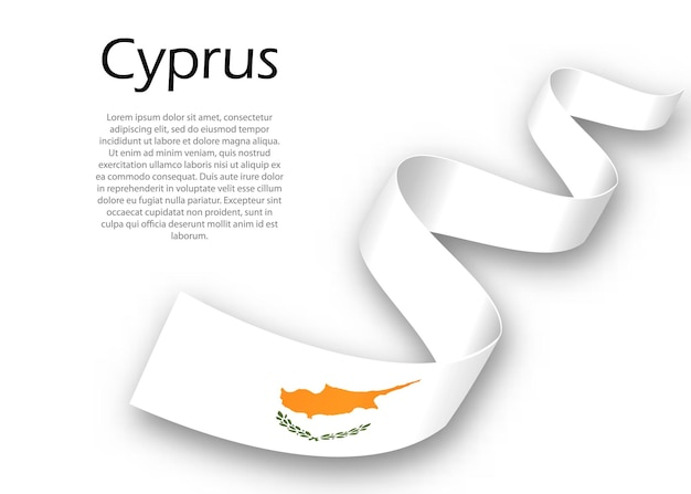 Waving ribbon or banner with flag of cyprus. template for independence day poster design