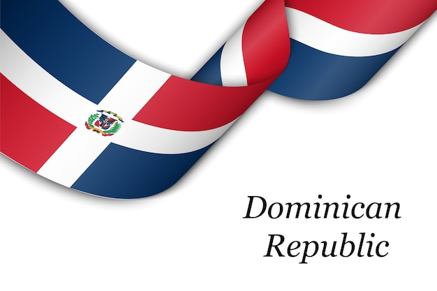 Waving ribbon or banner with flag of dominican republic.