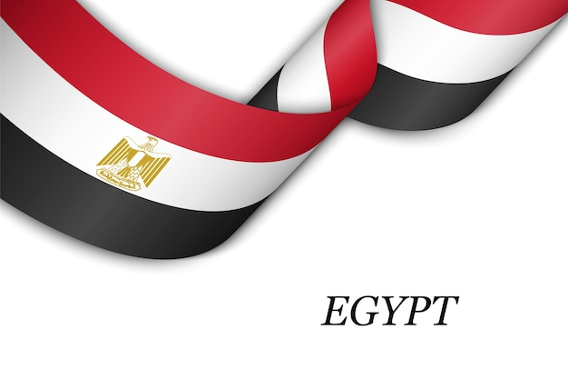 Waving ribbon or banner with flag of egypt.