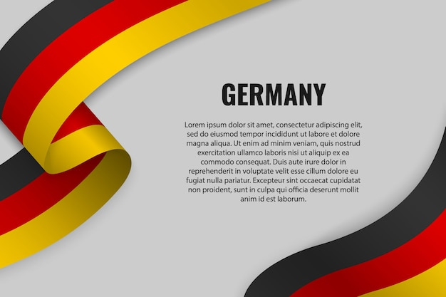 Waving ribbon or banner with flag of germany