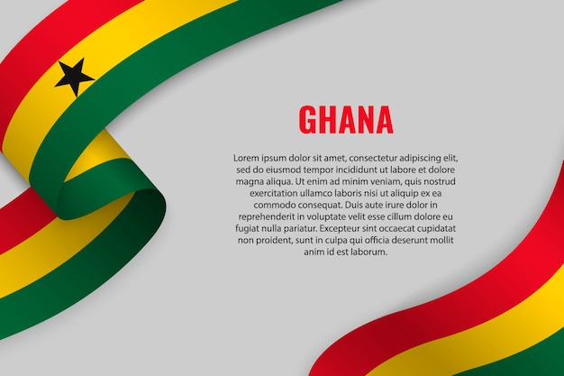 Waving ribbon or banner with flag of ghana