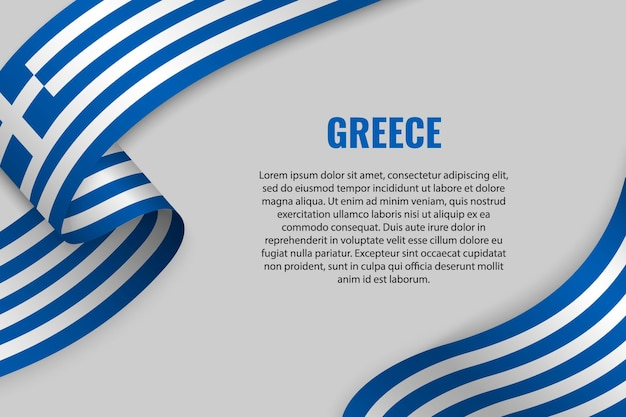 Waving ribbon or banner with flag of greece