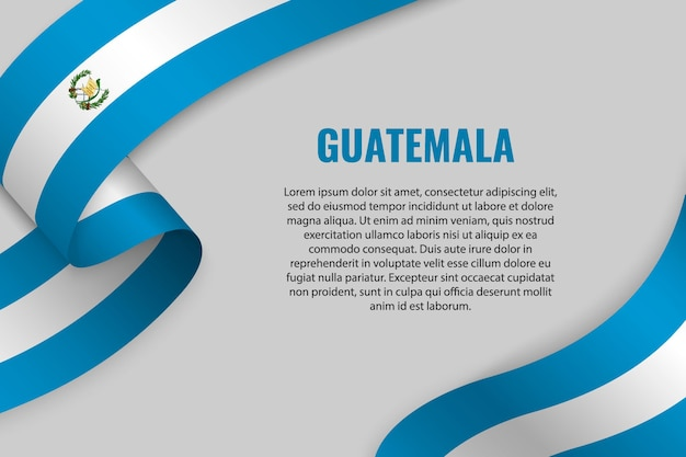 Waving ribbon or banner with flag of guatemala