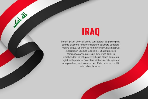 Waving ribbon or banner with flag of iraq