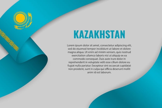 Waving ribbon or banner with flag of kazakhstan