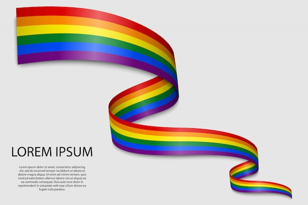 Waving ribbon or banner with flag of lgbt pride.