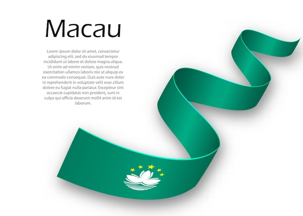 Waving ribbon or banner with flag of macau. template for independence day poster design