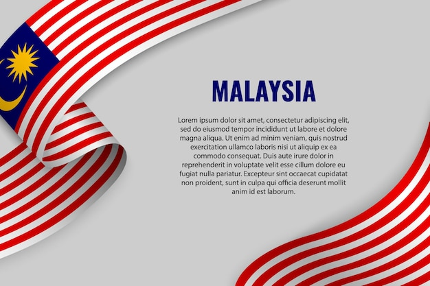 Waving ribbon or banner with flag of malaysia