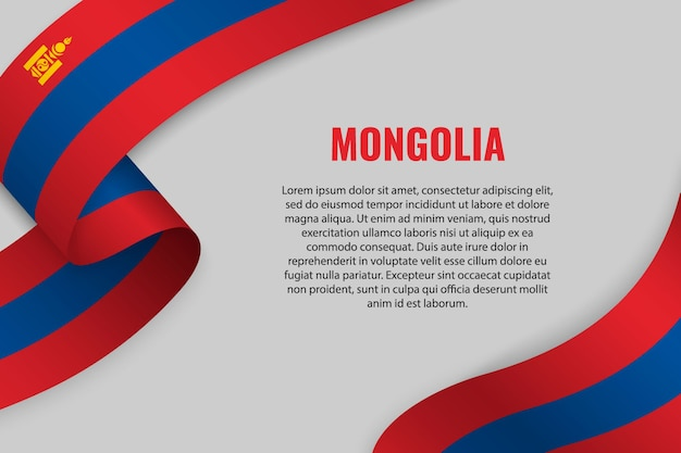 Waving ribbon or banner with flag of mongolia