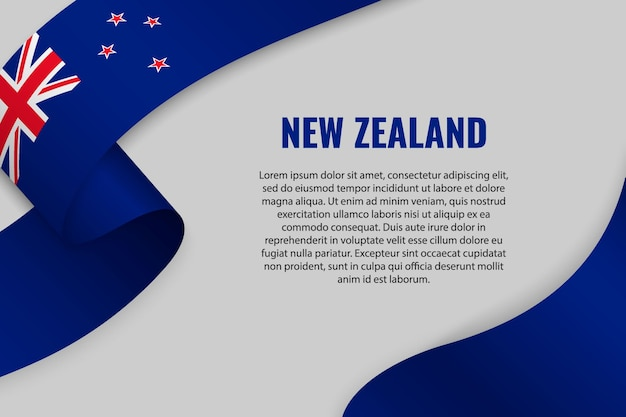 Waving ribbon or banner with flag of new zealand